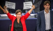 Ana Miranda, eurodiputada por el BNG, durante el Pleno del Parlamento Europeo celebrado este jueves