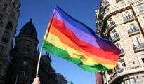 Bandera LGTBI en Madrid.