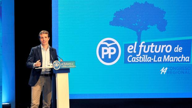 Pablo Casado, durante su intervención en el XIV Congreso del PP de Castilla-La Mancha en Albacete