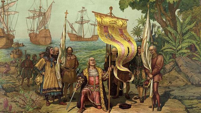 Colón tomando posesión de Guanahaní en nombre de los Reyes Católicos el 12 de octubre de 1492.