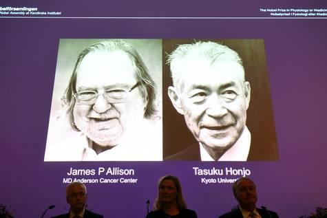 Anuncio de los ganadores del Premio Nobel de Medicina, James P. Allison y Tasuku Honjo.
