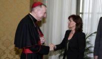 El secretario de Estado de la Santa Sede, Pietro Parolin y la vicepresidenta del Gobierno, Carmen Calvo