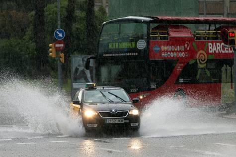 Lluvia torrencial en Barcelona.
