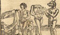 Xilografía de Sebastian Münster de 1544 que representa, de izquierda a derecha, un esciápodo, un cíclope, unos siameses, un blemio y un cinocéfalo - Wikimedia Commons