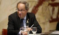 El presidente de la Generalitat, Quim Torra, durante la reunión semanal del Govern.