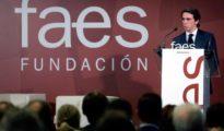 Aznar durante su intervención en la clausura del III Foro #IDEASFAES.