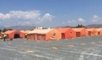 Campamento de atención a extranjeros en el Puerto de Motril (Granada)