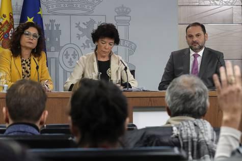 Rueda de prensa posterior al Consejo de Ministros, celebrada este jueves en el Palacio de la Moncloa.