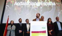 Santiago Abascal, líder de Vox, durante la noche electoral de las elecciones andaluzas.