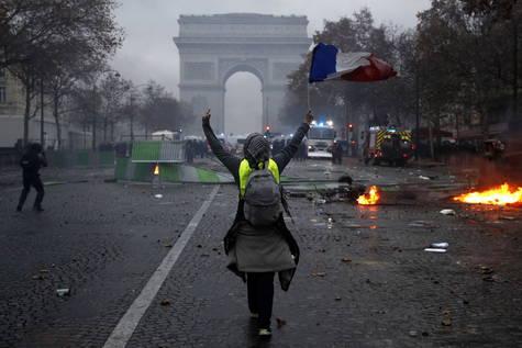 Protestas de los 'chalecos amarillos' en París.