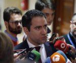 El secretario general del PP, Teodoro García Egea, en declaraciones a los medios de comunicación.