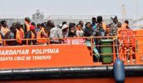 Imagen de archivo del traslado de personas rescatadas en el mar de Alborán que viajaban en patera.