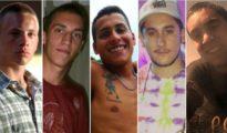 Los cinco amigos acusados: Lucas Pitman (21), Tomás Jaime (23), Juan Cruz Villalba (23), Emanuel Díaz (23) y Roberto Costa (21) - Infobae