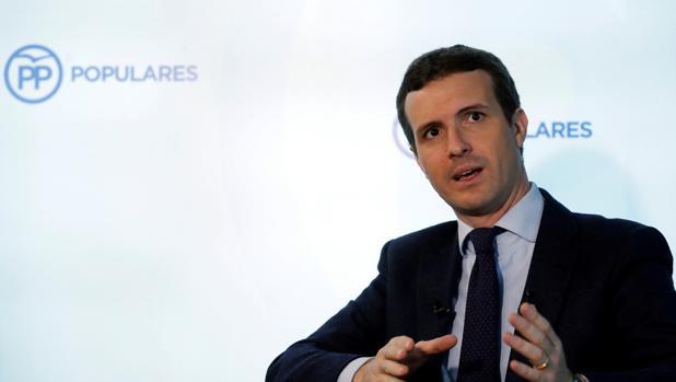 El presidente del PP, Pablo Casado, durante su entrevista con Efe