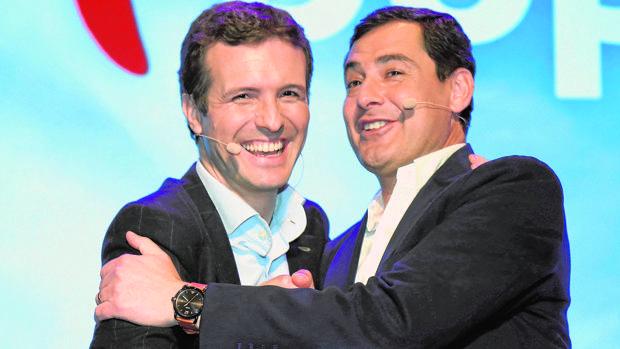 Casado y Moreno, ayer en un acto preelectoral del PP en Granada