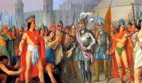 Cortés, junto a Moctezuma