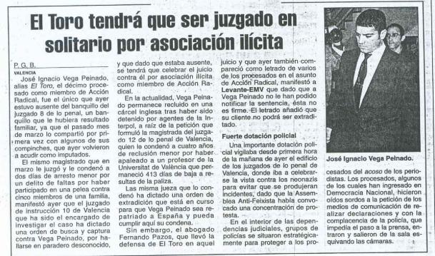 Extracto del diario Levante en el que se habla del juicio a José Ignacio Vega Peinado