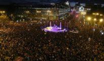 Vista aérea de la manifestación feminista en Madrid.