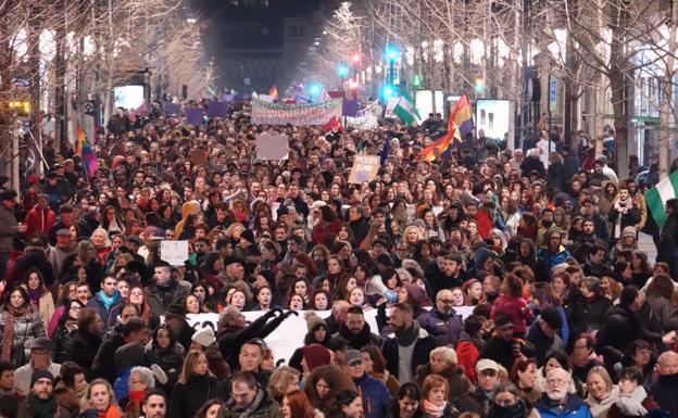 Imagen de la manifestación feminista en Granada.