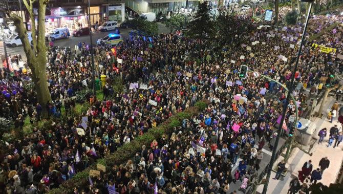 Imagen de la manifestación feminista en Santander.