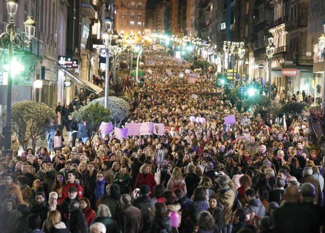 Imagen de la manifestación feminista en Vigo.