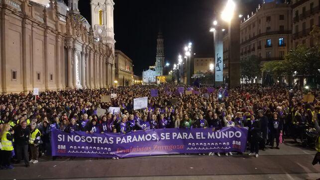 Imagen de la manifestación feminista en Zaragoza.