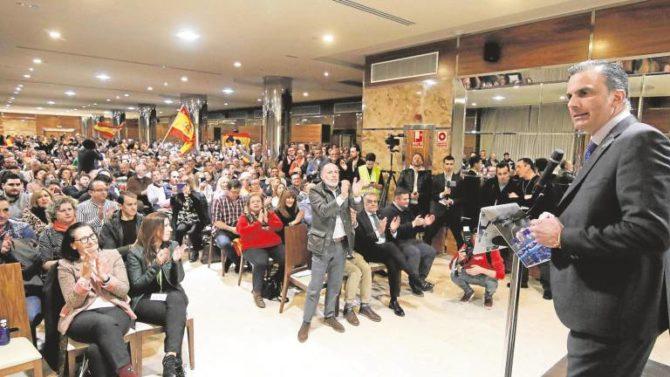 Ortega Smith en el acto de Salamanca de Vox el pasado 30 de enero.
