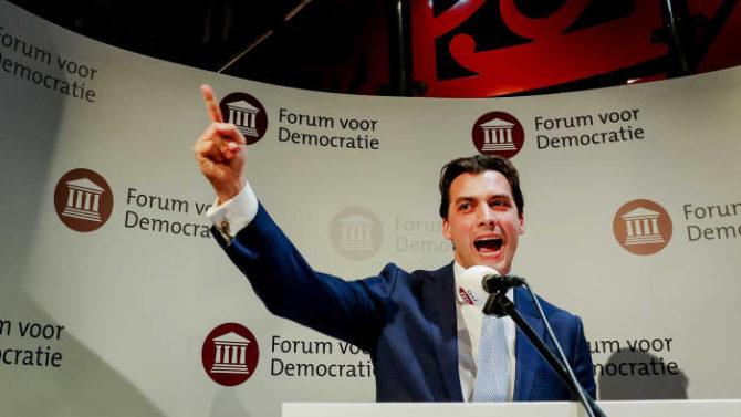 El líder de FvD, Thierry Baudet, durante los resultados electorales.