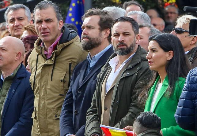 Santiago Abascal, Javier Ortega-Smith, Rocío Monasterio e Ivan Espinosa de los Monteros en la concentración bajo el lema 'Por una España unida'/Europa Press