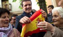 Pablo Casado, este viernes por la mañana en Pamplona