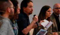 Los principales dirigentes de Podemos, Pablo Iglesias, Pablo Echenique, Ione Belarra y Nacho Álvarez, presentan su programa electoral.