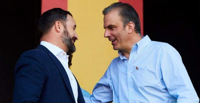 El líder de Vox Santiago Abascal (izquierda) y el secretario general de Vox Javier Ortega Smith, durante un reciente acto en Barcelona.