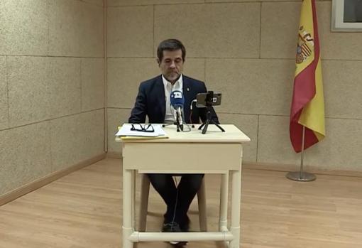 Jordi Sánchez, en su rueda de prensa desde Soto del Real