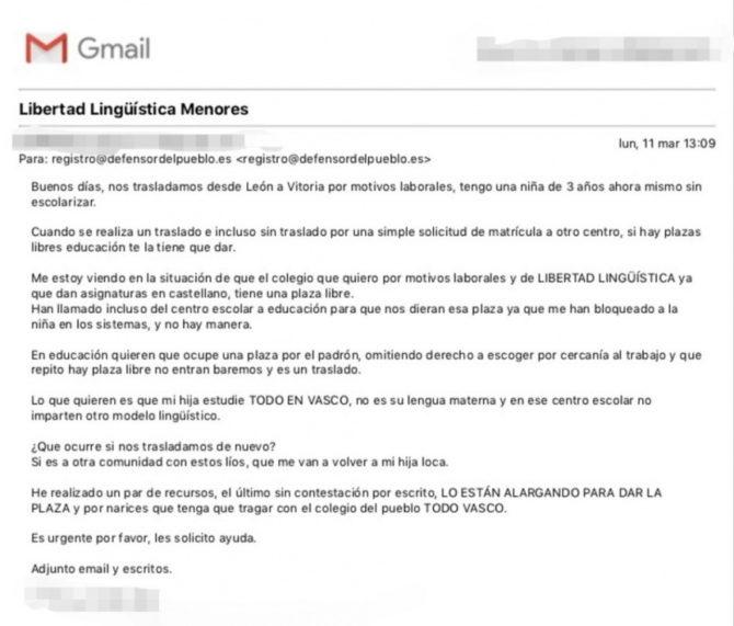 Correo electrónico enviado por la familia de la niña al Defensor del Pueblo   /   Imagen: Hablamos Español