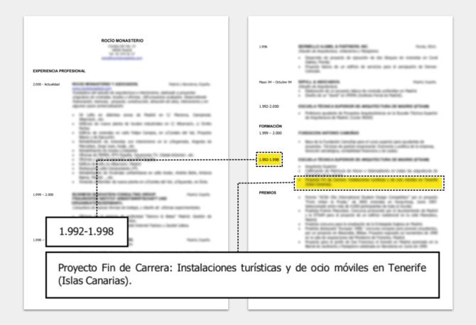 Detalle del currículum de Rocío Monasterio sobre la fecha de entrega del proyecto de fin de carrera.