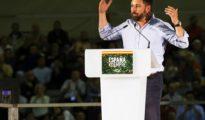 El presidente de Vox, Santiago Abascal, durante el acto público celebrado este domingo.