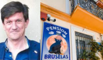 Fernando González y la fachada del hostal Bruselas